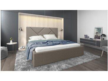 Stylefy Ceres Polsterbett Beige Strukturstoff 160x200