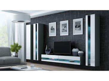 Stylefy Vago New VI Wohnwand Grau Weiß