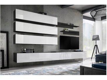 Stylefy Fli J1 Wohnwand Schwarz Matt | Weiß Hochglanz
