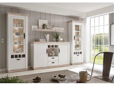 Stylefy Samwell Wohnwand Pinie Weiß | Pinie Optik