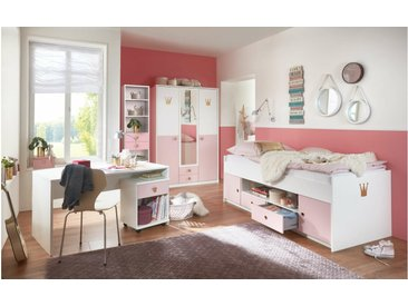 Stylefy Emilie IV Kinderzimmer-Set Weiß Pastellrosa