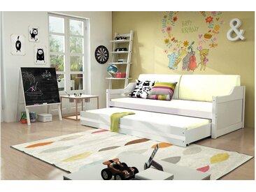 Stylefy Tore Funktionsbett 90x200 cm Weiß Weiß