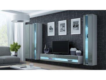 Stylefy Vago New VI Wohnwand Weiß Grau