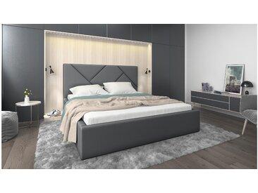 Stylefy Ceres Polsterbett Grau Kunstleder 180x200
