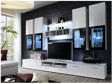 Stylefy LIRA Wohnwand 190x300x45 Weiß