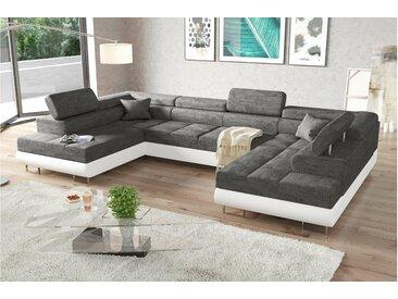 Stylefy Marokko XL Wohnlandschaft Grau Weiß Strukturstoff BERLIN Kunstleder MADRYT