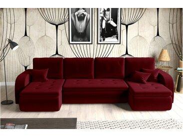 Stylefy Birmingham XL Wohnlandschaft Velours KRONOS Rot