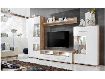 Stylefy Haune Wohnwand Monument Eiche | Weiß