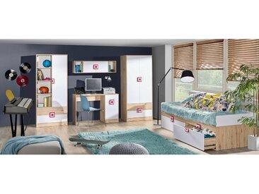 Stylefy Nicole II Kinderzimmer-Set Eiche Weiß Rosa