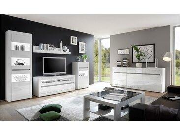 Stylefy Edelstein Wohnzimmerset Weiß Matt   Weiß Hochglanz