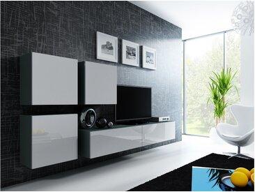 Stylefy Vago XXIII Quadrat Wohnwand Grau Weiß