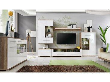 Stylefy Nidda Wohnzimmerset Monument Eiche| Weiß