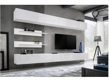 Stylefy Fli I1 Wohnwand Weiß Matt   Weiß Hochglanz