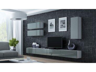 Stylefy Vago XIII Wohnwand Weiß Grau
