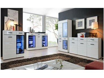 Stylefy Spree Wohnzimmerset Weiß Matt   Weiß Hochglanz
