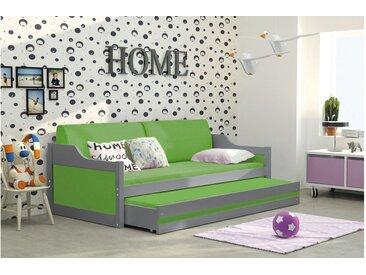 Stylefy Tore Funktionsbett 80x190 cm Graphit Grün