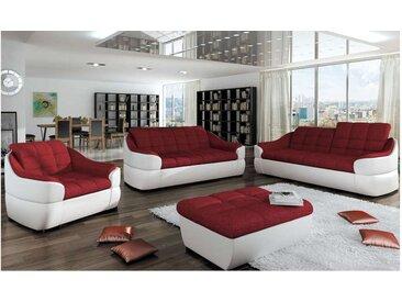 Stylefy INFINITY 3+2+1 Polstergarnitur Weiß Rot