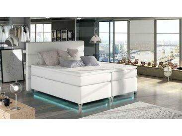 Stylefy Mars LED Boxspringbett Weiß 140x200 Kunstleder