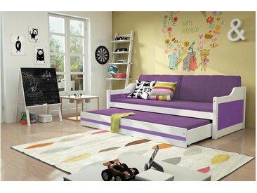 Stylefy Tore Funktionsbett 80x190 cm Weiß Lilla