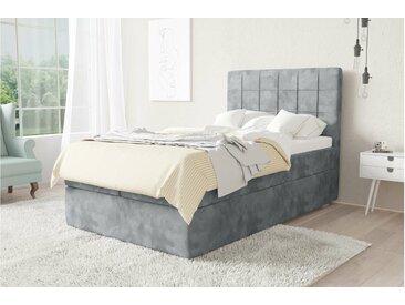 Stylefy Barcello Boxspringbett Silber Velours MONOLITH 120x200 cm Schaum Topper