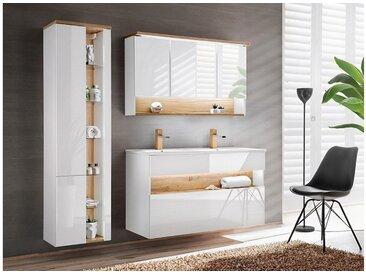 Stylefy Banama WHITE SET 120 cm Badezimmerset Weiß Hochglanz | Wotan Eiche