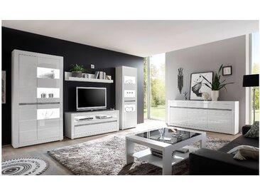 Stylefy Edelstein Wohnzimmerset Weiß Matt | Weiß Hochglanz