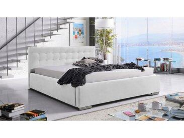 Stylefy Milagres Polsterbett 140x200 cm Kunstleder Weiß