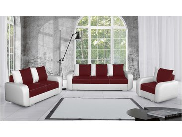 Stylefy Mono Polstergarnitur Weiß Rot