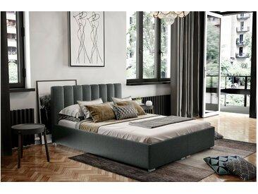 Stylefy Canella Polsterbett Strukturstoff 200x200 cm Grau