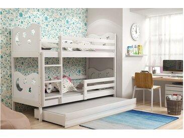 Stylefy Ola mit Extrabett Etagenbett 90x200 cm Weiß Weiß