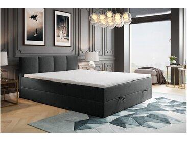 Stylefy Royds Boxspringbett Strukturstoff 140x200 cm Dunkelgrau