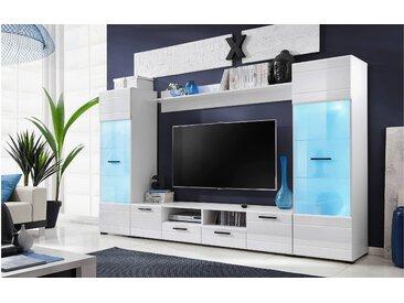 Stylefy Rhin Wohnwand Weiß Matt | Weiß Hochglanz