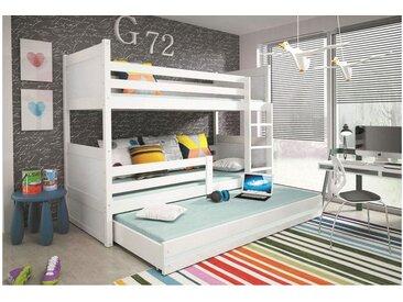 Stylefy Lora mit Extrabett Etagenbett 90x200 cm Weiß Weiß
