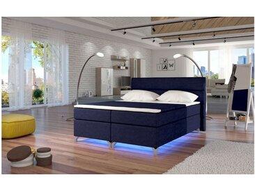 Stylefy Amadeo LED Boxspringbett 185x205x126 cm Blau