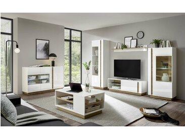 Stylefy Clarissa Wohnzimmerset Weiß Hochglanz Grandson Oak Dekor