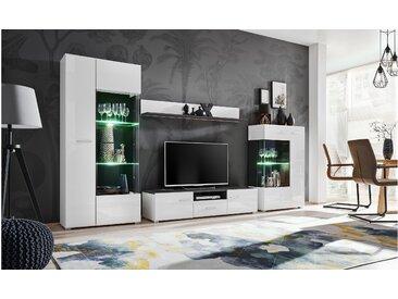 Stylefy Irvine Wohnwand Kiefer | Weiß Hochglanz
