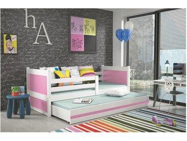 Stylefy Lora mit Extrabett Funktionsbett 90x200 cm Weiß Rosa