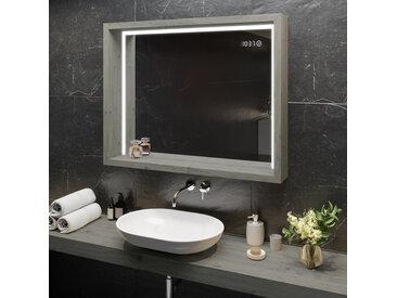 Spiegel mit LED Beleuchtung - mit Ablage und Rahmen - WoodenFrame