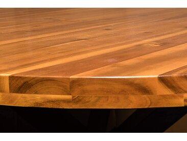 Esstisch rund cognac massiv Akazie 120 cm schwarz ISABELLA