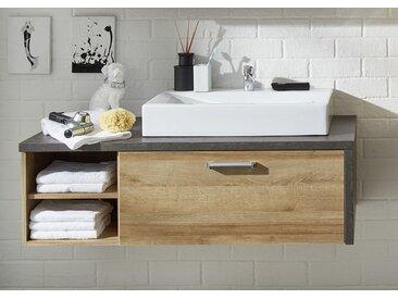 Waschtisch Bay   Eiche Honig / Beton   Waschbeckenunterschrank