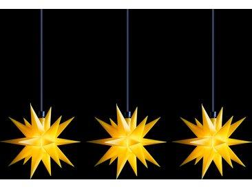 LED-Lichterkette Mini-Sterne außen 3-fl. gelb