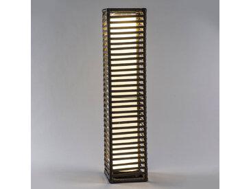 LED-Solarleuchte Säule Rattan, eckig