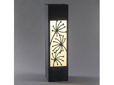 LED-Solarleuchte Säule, Betonoptik, Blumen-Motiv