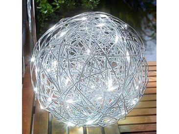 "Solarleuchte ""Alu-Wireball"" aus Aluminium in Alu von ""Esotec"", IP44 (50 flammig, A+)"