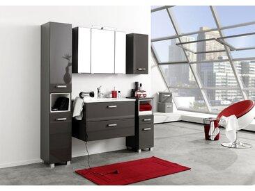 Badmöbel Set 5-tlg. in graphitgrau und grau Hochglanz, Metallgriffe, Spiegelschrank, Hängeschrank, Unterschrank, Seitenschrank, Waschtisch
