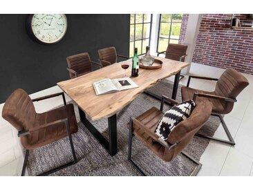 Esstisch, Esszimmertisch, Tischplatte Akazie massiv mit Baumkante wie gewachsen, lackiert und gewachst, Maße: B/H/T ca. 180/77/90 cm