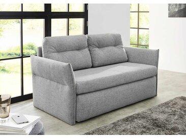Schlafsofa in grauem Feinstrukturstoff bezogen, Schaumpolsterung, Gästebett, Bettkasten, 2 Kissen, Maße: B/H/T ca. 158/86/88 cm