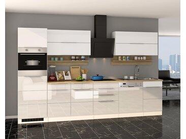 Küchenblock, weiß Hochglanz, Stellmaß: ca. 330 cm, mit Elektrogeräten inkl. Geschirrspüler