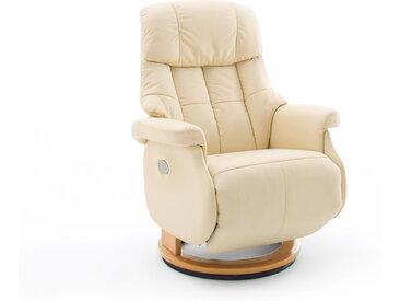 Relaxsessel-Komfort mit elektrischer Bedienung, in Echtleder creme, Gestell natur, Maße: B/H/T ca. 82/84-111/86-162 cm