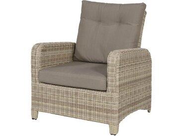 Garten-Loungestuhl aus Polyrattangeflecht in beige, stufenlose Verstellung durch Gasdruckfeder, inkl. Sitzauflagen in grau